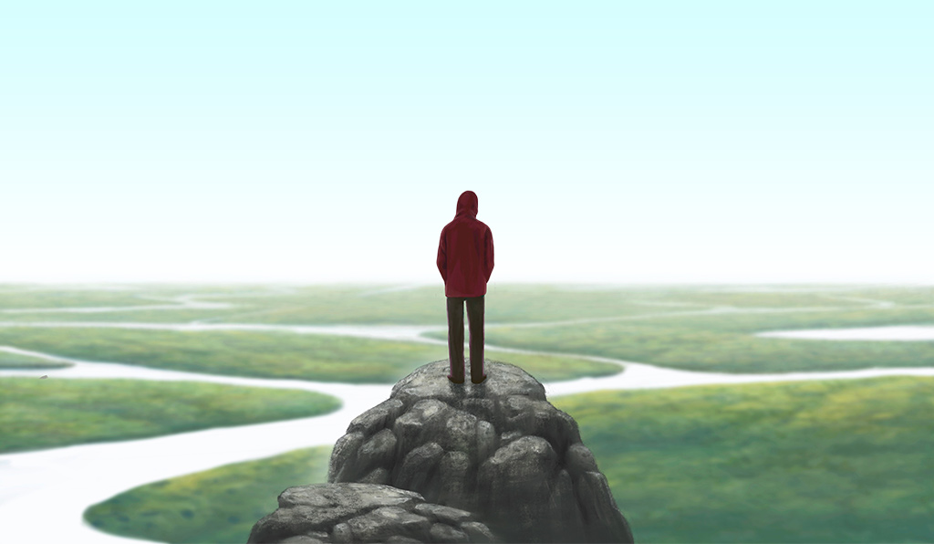 Painting Of Young Man Standing Alone On A Rock Overlooking Vast Landscape With A Maze Of Rivers Below