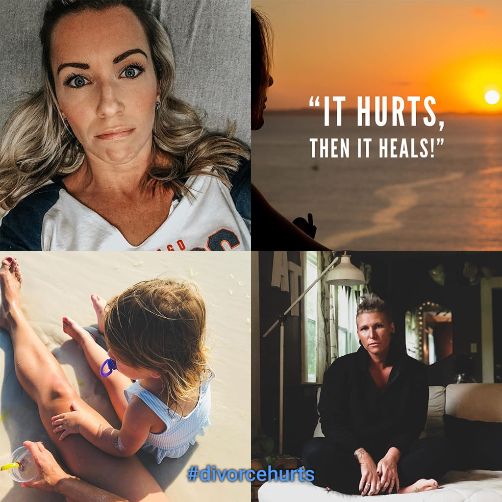 A Montage Of Four Social Media Images Of Women Working To Heal After Divorce With A Message That It Hurts Then It Heals