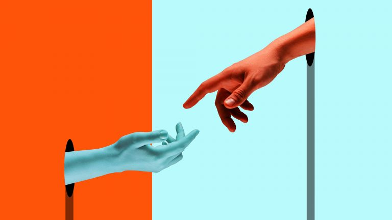 Abstract Dual-Toned Surreal Photo Of Blue Hand Reaching For Orange Hand, Help Concept