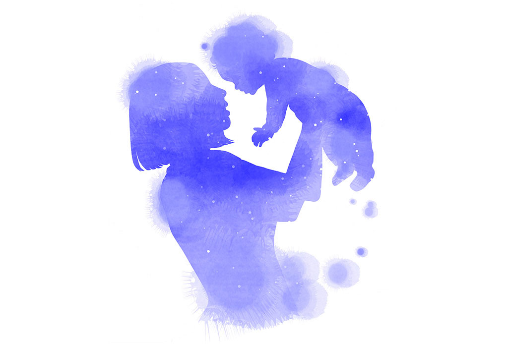 Illustrated Watercolor Silhouette Of Woman Holding Baby In Violet Blue Hue