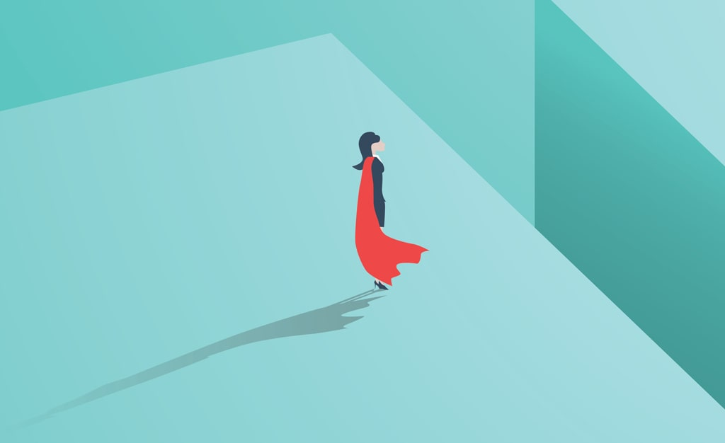 An Illustration Of A Person In A Red Cape Looking Confidently At A Large Leap They Must Take To Get To The Other Side