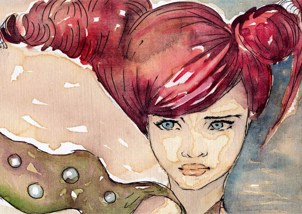 A Watercolor Painting Portrays A Young Woman With Deep Red Hair Wearing A Sad Expression And Wistfully Looking To The Left Of The Viewer