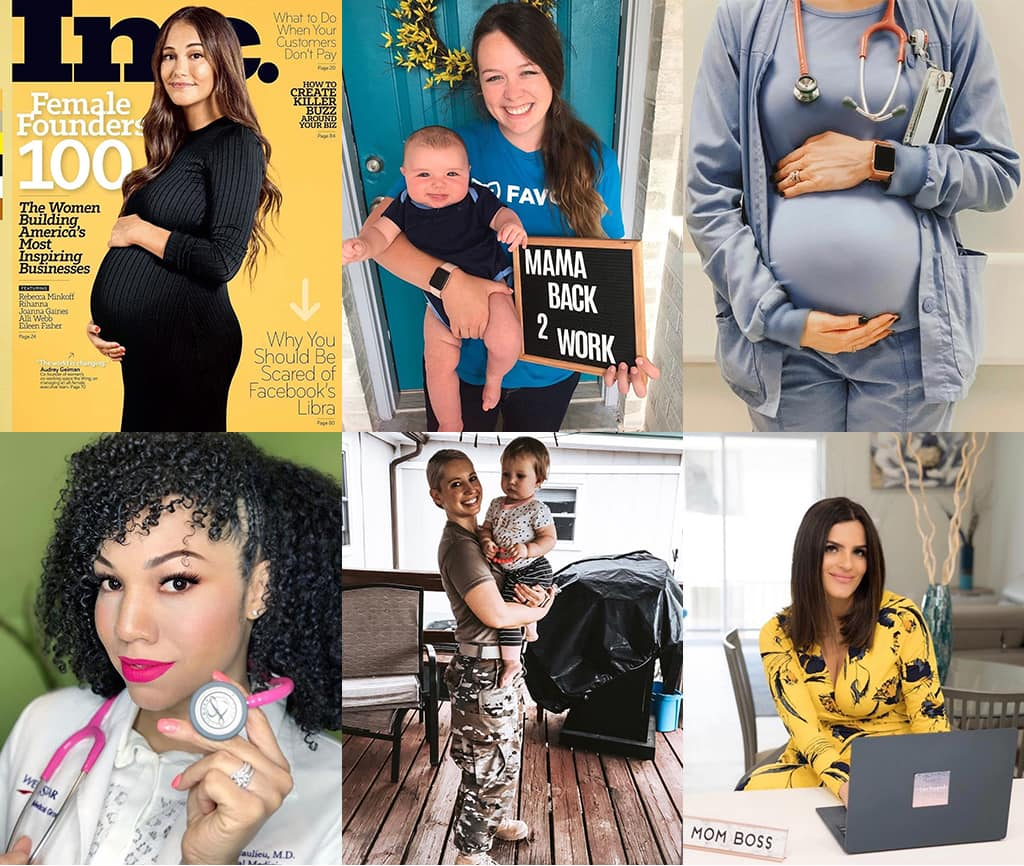 Montage Of 6 Images Showing Various Women Empowered By Their Careers While Embracing Motherhood